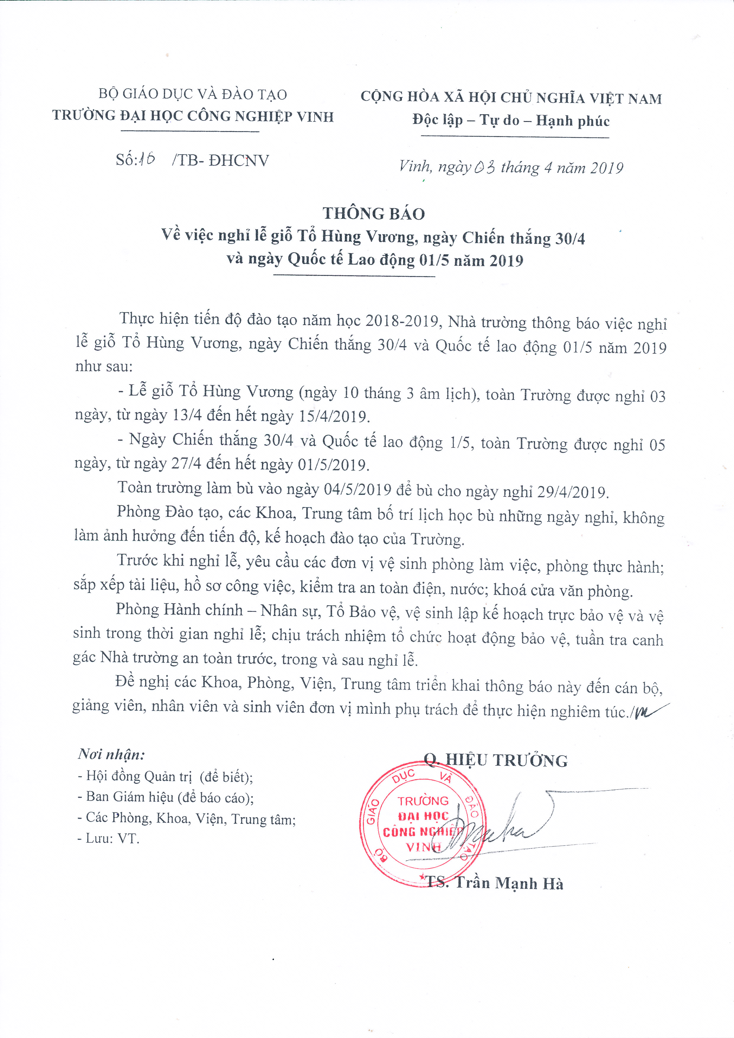 Thông báo về việc nghỉ lễ Giổ Tổ Hùng Vương, Chiến thắng 30/04 và ngày Quốc tế Lao động 01/5/2019